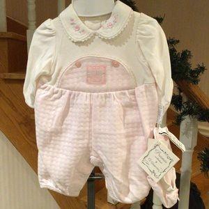 Newborn 1 piece romper pink&white with Barrette
